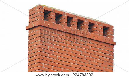 the brick smokestack isolated on white background