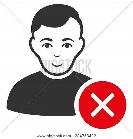 User Delete vector flat icon. Person face has enjoy feeling.