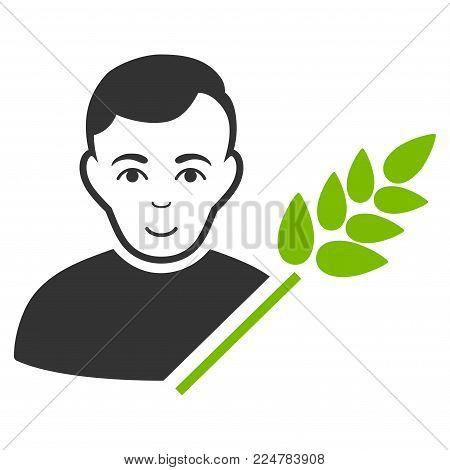 Wheat Farmer vector flat icon. Person face has joy sentiment.