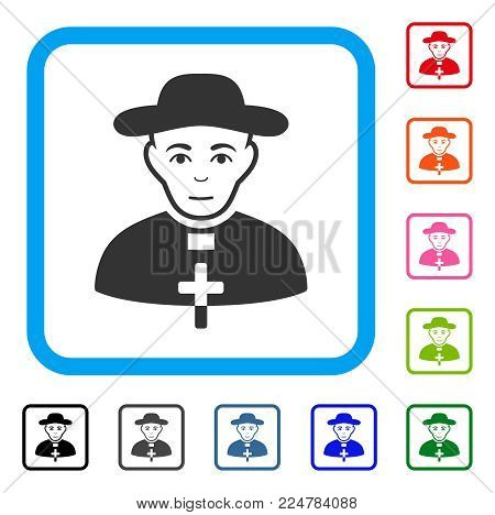 Gladness Catholic Shepherd vector pictograph. Person face has joy feeling. Black, gray, green, blue, red, pink color versions of catholic shepherd symbol in a rounded square.