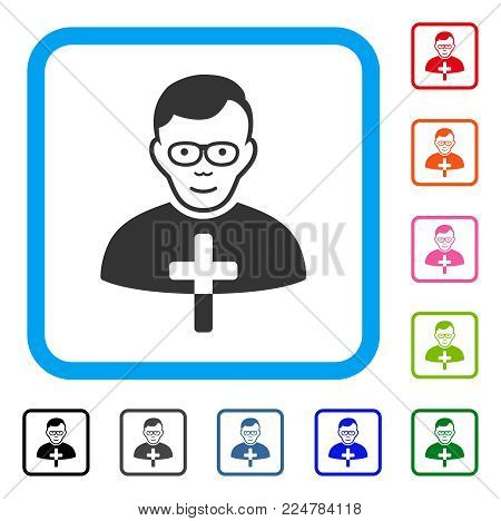 Happy Catholic Shepherd vector pictogram. Human face has joy expression. Black, gray, green, blue, red, pink color variants of catholic shepherd symbol in a rounded rectangular frame.
