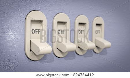 A 3D illustration showing 4 plastic switches, on a blueish-gray wall and in the OFF position