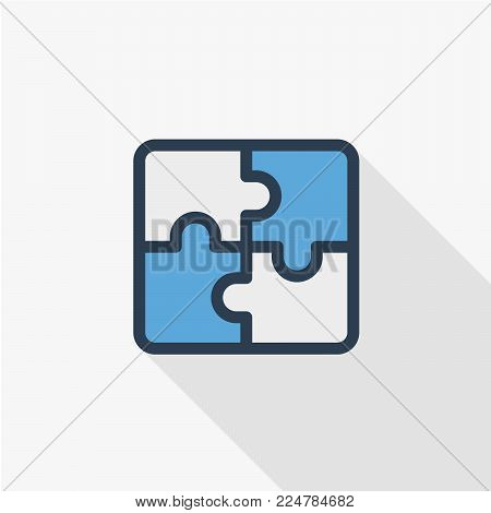 puzzle part, jigsaw piece, solution thin line flat color icon. Linear vector illustration. Pictogram isolated on white background. Colorful long shadow design.