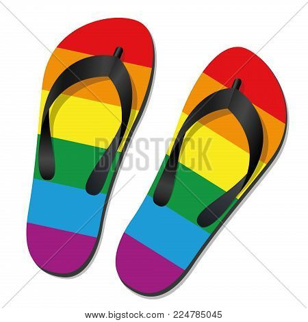 Gay pride flip flops - isolated vector illustration on white.