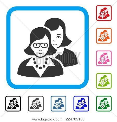 Happy Clever Women vector icon. Person face has joy emotion. Black, gray, green, blue, red, orange color variants of clever women symbol inside a rounded rectangular frame.