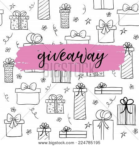 Vector giveaway card for blogs. Background with hand drawn gift boxes