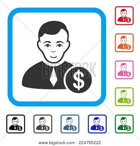 Happy Commercial Lawyer vector pictogram. Human face has gladness feeling. Black, grey, green, blue, red, orange color additional versions of commercial lawyer symbol inside a rounded frame.