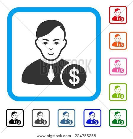 Positive Commercial Loyer vector icon. Person face has enjoy sentiment. Black, grey, green, blue, red, orange color variants of commercial loyer symbol in a rounded rectangular frame.