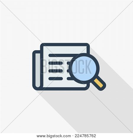 recruitment, resume search, job, selecting staff thin line flat color icon. Linear vector illustration. Pictogram isolated on white background. Colorful long shadow design.