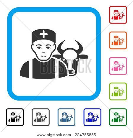 Enjoy Cow Veterinarian vector pictograph. Human face has joy feeling. Black, gray, green, blue, red, orange color versions of cow veterinarian symbol inside a rounded frame.