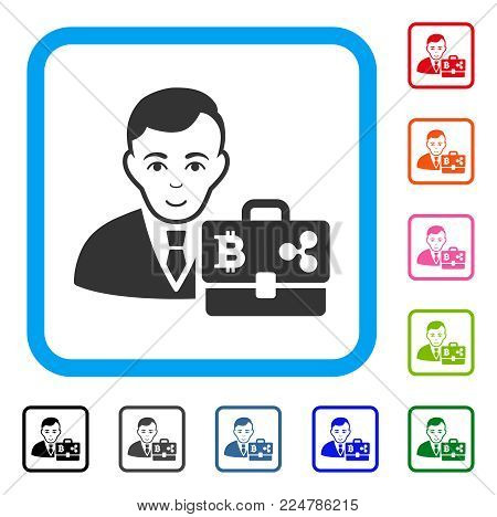 Happy Cryptocurrency Accounter vector pictogram. Person face has joy sentiment. Black, gray, green, blue, red, orange color versions of cryptocurrency accounter symbol inside a rounded rectangle.