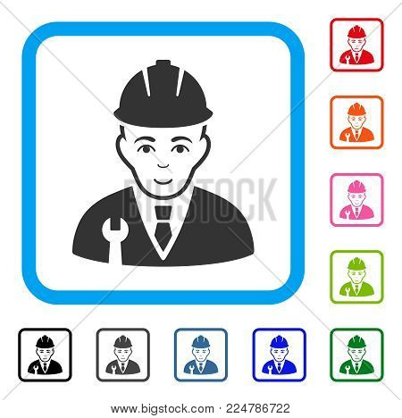 Joyful Developer vector pictograph. Human face has happiness feeling. Black, grey, green, blue, red, orange color additional versions of developer symbol in a rounded square.