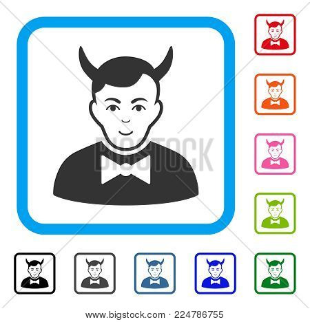 Happy Devil vector icon. Person face has joy sentiment. Black, grey, green, blue, red, pink color variants of devil symbol in a rounded rectangle.