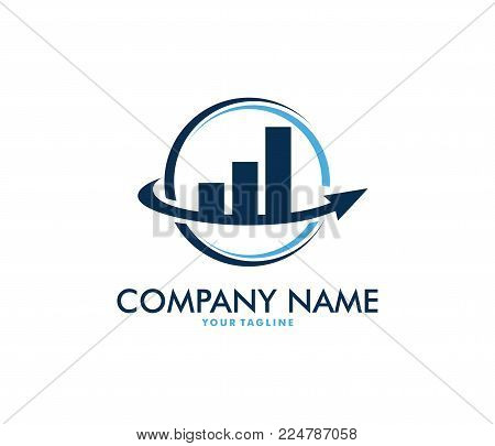 Vector Logo Design Info Graphic Of Line Bar Chart Of Financial Or Stock Exchange, Increase Profit