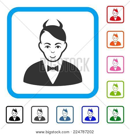 Joy Devil vector icon. Human face has joy emotions. Black, grey, green, blue, red, orange color versions of devil symbol inside a rounded squared frame.