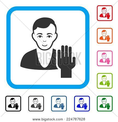 Cheerful Elector vector pictograph. Human face has glad sentiment. Black, gray, green, blue, red, orange color additional versions of elector symbol in a rounded rectangular frame.