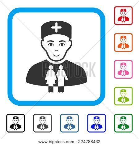 Happy Family Doctor vector pictograph. Person face has joy mood. Black, gray, green, blue, red, orange color additional versions of family doctor symbol in a rounded frame.