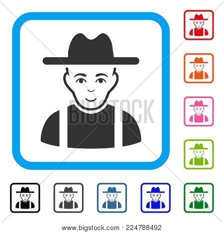Joy Farmer Guy vector pictogram. Person face has glad sentiment. Black, grey, green, blue, red, orange color versions of farmer guy symbol in a rounded rectangular frame.