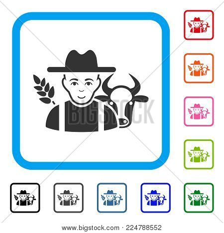 Joyful Farmer vector pictogram. Human face has enjoy emotions. Black, gray, green, blue, red, pink color versions of farmer symbol in a rounded rectangle.