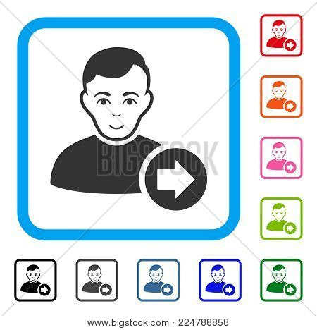 Happiness Following User vector pictogram. Human face has joy expression. Black, gray, green, blue, red, orange color additional versions of following user symbol inside a rounded square.