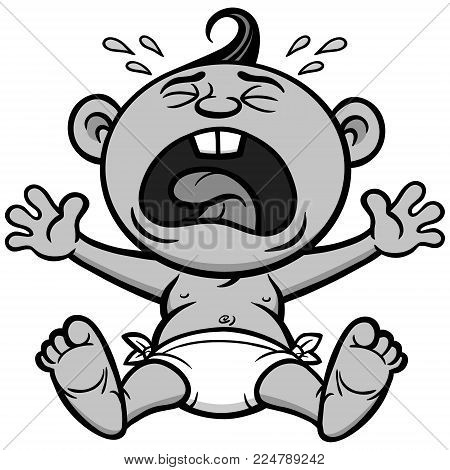 Cry Baby Illustration - A vector cartoon illustration of a crying baby.