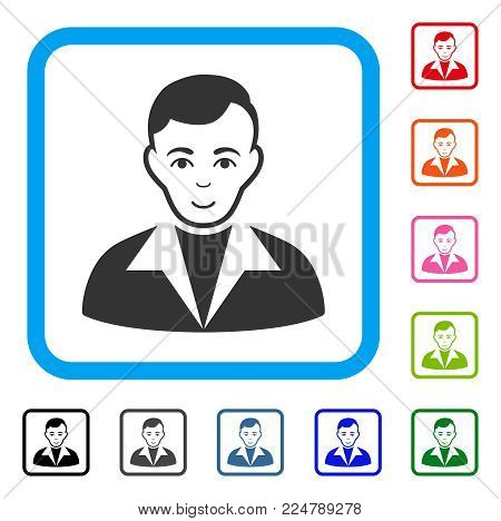 Positive Guy vector pictogram. Human face has smiling sentiment. Black, grey, green, blue, red, orange color versions of guy symbol in a rounded rectangle.