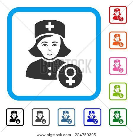 Enjoy Gynecologist Lady Doctor vector pictograph. Human face has enjoy emotions. Black, grey, green, blue, red, pink color versions of gynecologist lady doctor symbol inside a rounded square.