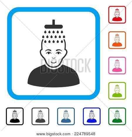 Joy Head Shower vector pictograph. Person face has cheerful emotions. Black, grey, green, blue, red, pink color additional versions of head shower symbol in a rounded rectangle.