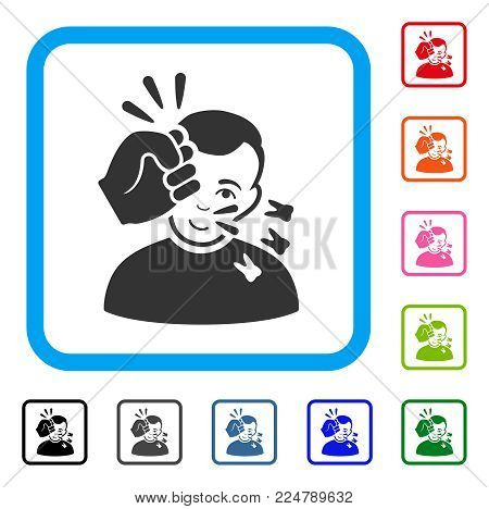Positive Head Strike vector icon. Person face has positive emotions. Black, grey, green, blue, red, pink color variants of head strike symbol inside a rounded rectangle.