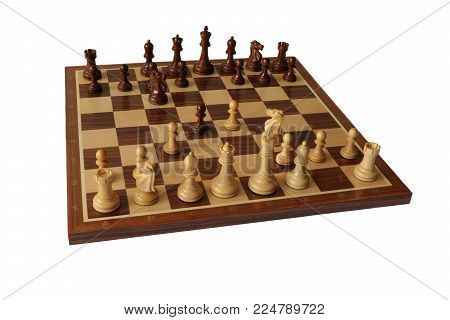 Photo of chess opening on white background. Goring Gambit.