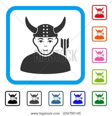 Enjoy Horned Warrior vector pictogram. Person face has joy emotion. Black, grey, green, blue, red, orange color additional versions of horned warrior symbol inside a rounded squared frame.
