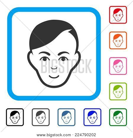Gladness Human Head vector pictograph. Human face has enjoy feeling. Black, gray, green, blue, red, orange color variants of human head symbol in a rounded rectangle.