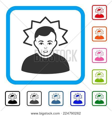 Joyful Inventor vector icon. Human face has enjoy emotion. Black, grey, green, blue, red, orange color versions of inventor symbol inside a rounded square.