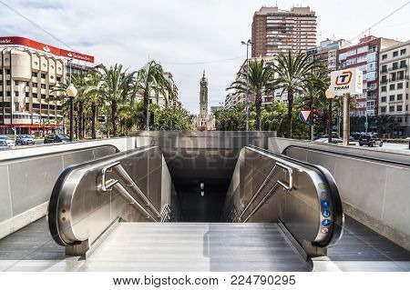 Alicante,spain-september 23,2017:city View, Square, Plaza Luceros And Subway Entrance,alicante,spain
