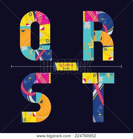 Vector graphic alphabet in a set Q,R,S,T, with colorful geometric style