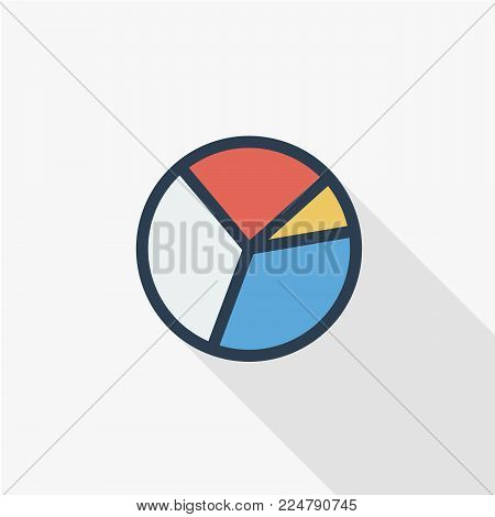 graph chart, pie diagram thin line flat color icon. Linear vector illustration. Pictogram isolated on white background. Colorful long shadow design.