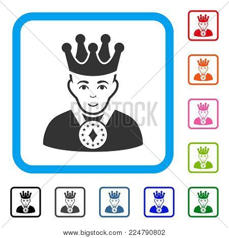 Glad King vector icon. Person face has joy sentiment. Black, gray, green, blue, red, orange color versions of king symbol in a rounded squared frame.