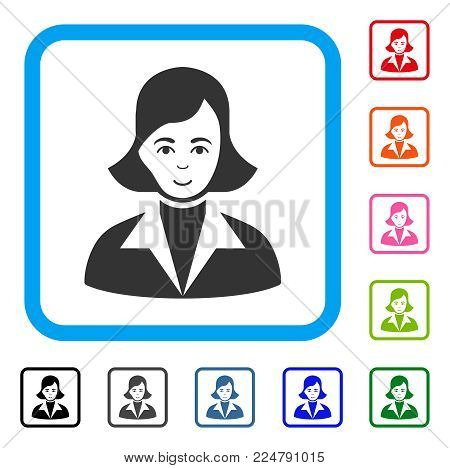 Enjoy Lady vector icon. Human face has happy emotions. Black, grey, green, blue, red, orange color versions of lady symbol inside a rounded square.