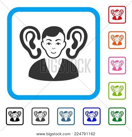 Glad Listener vector pictograph. Human face has glad sentiment. Black, gray, green, blue, red, pink color additional versions of listener symbol inside a rounded square.