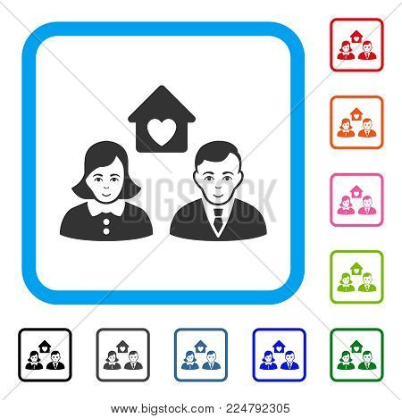 Glad People Marriage vector pictograph. Person face has happiness emotion. Black, gray, green, blue, red, orange color versions of people marriage symbol in a rounded frame.