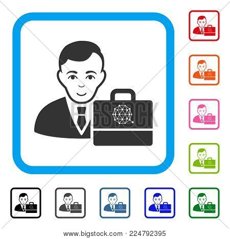 Glad Qtum Accounter vector pictogram. Human face has joyful emotion. Black, gray, green, blue, red, orange color variants of qtum accounter symbol inside a rounded squared frame.