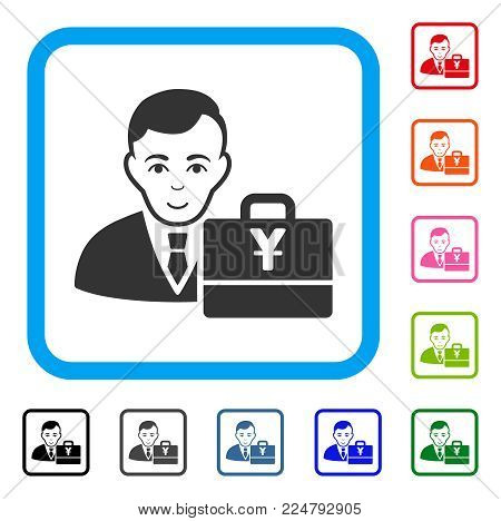 Positive Yuan Accounter vector pictograph. Human face has glad feeling. Black, grey, green, blue, red, pink color versions of yuan accounter symbol in a rounded frame.