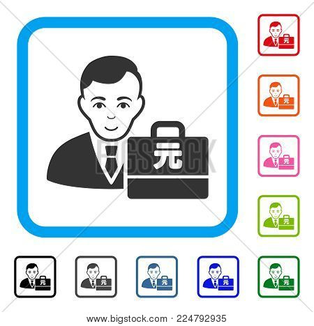 Happiness Yuan Renminbi Accounter vector pictograph. Human face has joy emotions. Black, grey, green, blue, red, orange color variants of yuan renminbi accounter symbol inside a rounded square.