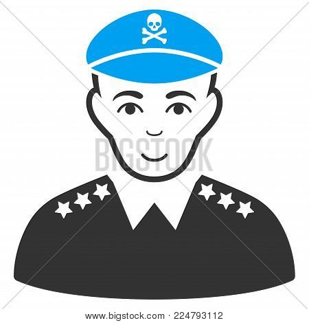 Evil Army General vector pictograph. Flat bicolor pictogram designed with blue and gray. Human face has happy emotion.