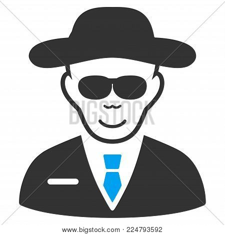 Spy vector pictograph. Flat bicolor pictogram designed with blue and gray. Human face has happy emotion.