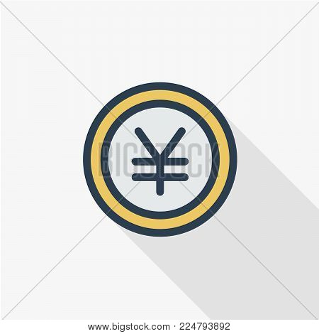 coin yen, money, finance, currency thin line flat color icon. Linear vector illustration. Pictogram isolated on white background. Colorful long shadow design.