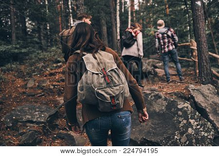 Doing what they love. Full length rear view of young people in warm clothing moving up while hiking together in the woods