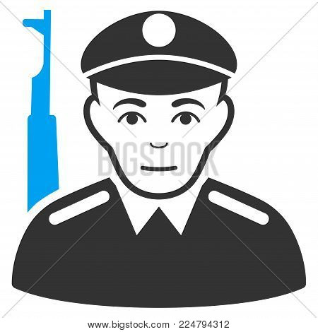 Soldier vector pictograph. Flat bicolor pictogram designed with blue and gray. Person face has smiling emotion.