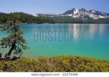 turquoise waters in a crater mountain lake