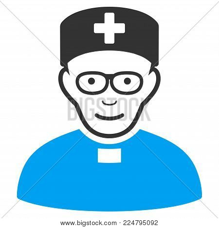 Monastic Doctor vector pictograph. Flat bicolor pictogram designed with blue and gray. Human face has joy expression.